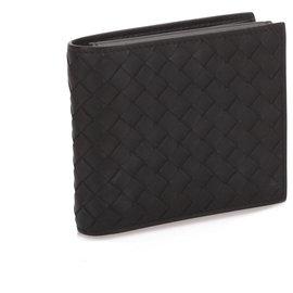 Bottega Veneta-Bottega Veneta Black Intrecciato Leather Wallet-Black