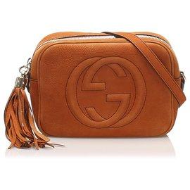 Gucci-Gucci Orange Soho Nubuck Leather Crossbody Bag-Orange
