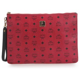 MCM-MCM Red Visetos Leather Clutch-Red