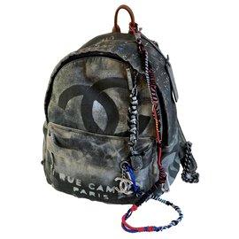 Chanel-Runway Graffiti Backpack-Black,Grey,Dark grey