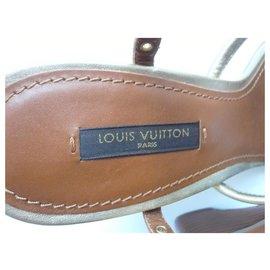 Louis Vuitton-LOUIS VUITTON Sandales compensées Caramel T37,5 IT-Brown