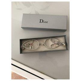Dior-Boucles d'oreilles-Argenté,Rose