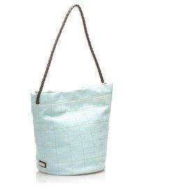 Burberry-Burberry Blue Canvas Shoulder Bag-Blue,Light blue