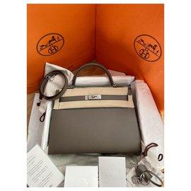 Hermès-Kelly 32 Sellier Epsom PHW-Grey