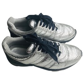 Chanel-Runner  Sneakers Cracked Silver-Silvery,Navy blue