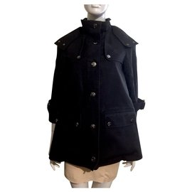 Burberry-Hooded trench coat with nova check lining-Black