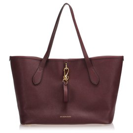 Burberry-Burberry Red Leather Tote Bag-Red,Other