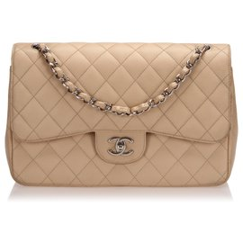 Chanel-Chanel Brown Jumbo Classic Caviar Leather lined Flap Bag-Brown,Beige