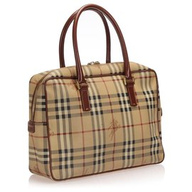 Burberry-Burberry Brown Haymarket Check Handbag-Brown,Multiple colors,Beige