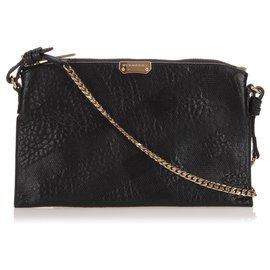 Burberry-Burberry Black Embossed Chichester Leather Crossbody Bag-Black