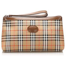 Burberry-Burberry Brown House Check Canvas Wristlet-Brown,Multiple colors,Beige