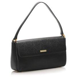 Burberry-Burberry Black Leather Baguette-Black