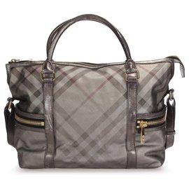 Burberry-Burberry Silver Smoke Check CoatedCanvas Handbag-Silvery,Multiple colors