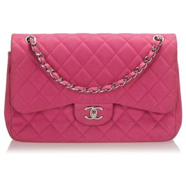 Chanel-Chanel Pink Jumbo Classic Caviar Leather lined Flap Bag-Pink