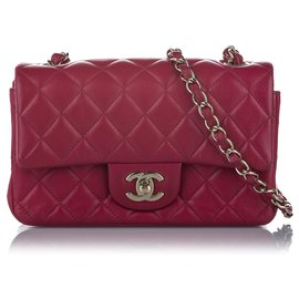 Chanel-Chanel Pink New Mini Classic Lambskin Flap Bag-Pink