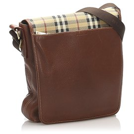 Burberry-Burberry Brown House Check Leather Crossbody Bag-Brown,Multiple colors