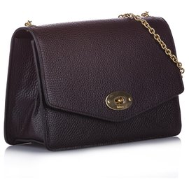 Mulberry-Mulberry Red Darley Leather Shoulder Bag-Red,Golden,Other