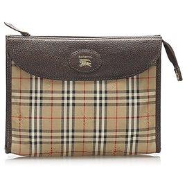 Burberry-Burberry Brown Haymarket Check Canvas Pouch-Brown,Multiple colors,Beige
