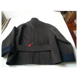 Hermès-HERMES Dark taupe cashmere jacket superb T42-Grey