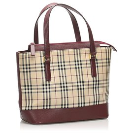 Burberry-Burberry Brown House Check Canvas Handbag-Brown,Multiple colors,Beige