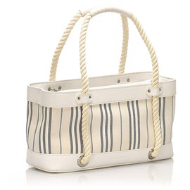 Burberry-Burberry White Stripes Canvas Handbag-White,Multiple colors