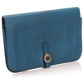 Hermès-Hermes Blue Dogon Wallet-Blue