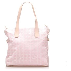 Chanel-Chanel Pink New Travel Line Canvas Tote Bag-Pink,White