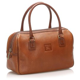 Burberry-Burberry Brown Leather Boston Bag-Brown