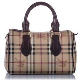 Burberry-Burberry Brown Haymarket Check Coated Canvas Boston Bag-Brown,Multiple colors,Beige