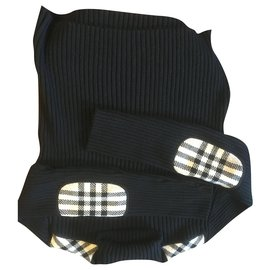 Burberry-Black tartan turtleneck sweater with shoulders and elbows-Black