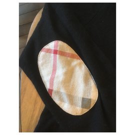 Burberry-Black cashmere V-neck sweater-Black