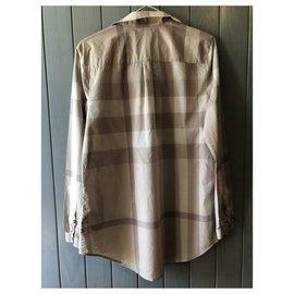 Burberry-Burberry beige / pale pink tartan print long sleeve blouse size M-Pink,Beige