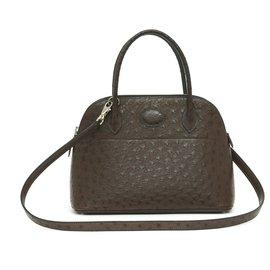 Hermès-Bolide 25 DARK BROWN OSTRICH-Dark brown