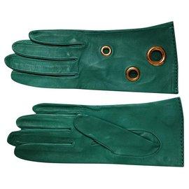 Hermès-Hermès Vintage Gloves (Late years 90 beginning 2000)-Green
