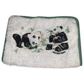 Hermès-Pandas cotton toiletry bag-White