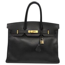 Hermès-HERMES BIRKIN bag 35 GHW SMOOTH GRAIN CALF-Black
