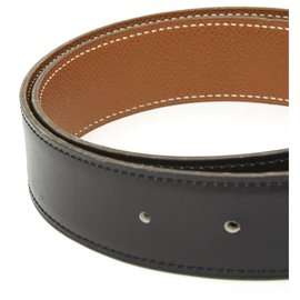 Hermès-BELT STRAP BLACK CAMEL FR70-Black,Caramel