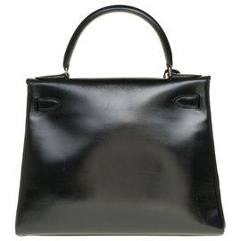 Hermès-Splendid Hermès Kelly 28 with shoulder strap in black box leather, hardware in palladium silver metal-Black