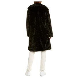 Badgley Mischka-Fake fur Bunny coat in black-Black