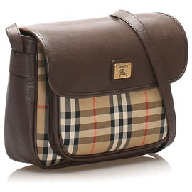 Burberry-Burberry Brown House Check Canvas Crossbody Bag-Brown,Multiple colors