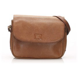 Burberry-Burberry Brown Leather Crossbody Bag-Brown,Other