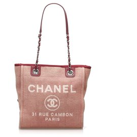 Chanel-Chanel Pink Deauville Canvas Tote Bag-Pink