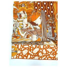 Hermès-Hermès shawl 140 cashmere-Orange