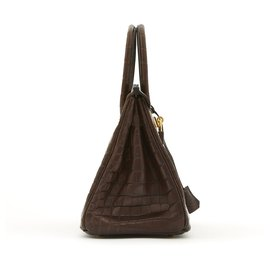 Hermès-Birkin 30 BROWN MAT POROSUS CROCODILE GOLD HDW-Brown