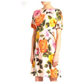 Dolce & Gabbana-Rose Print Dress-Pink