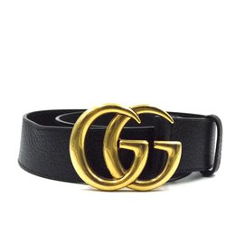 Gucci-Gucci Black Marmont GG Gold Buckle Grained Leather Belt Size 90/36-Black