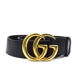Gucci-Gucci Black Marmont GG Gold Buckle Taille de ceinture en cuir grainé 90/36-Noir