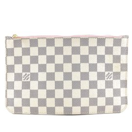 Louis Vuitton-Toile Louis Vuitton Neverfull Pochette Damier Azur-Blanc