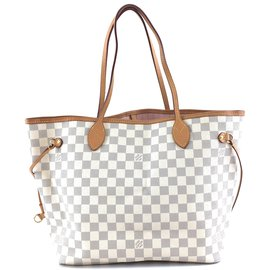Louis Vuitton-Louis Vuitton Neverfull Mm Damier Azur Canvas-White