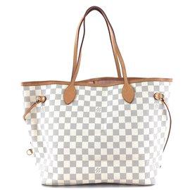 Louis Vuitton-Toile Louis Vuitton Neverfull Mm Damier Azur-Blanc